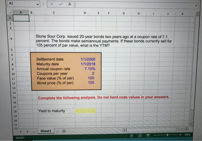 How to calculate yield to maturity in excel