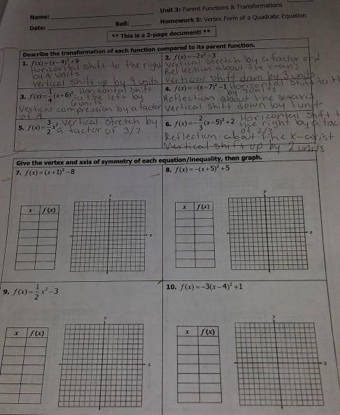 Unit 4 Solving Quadratic Equations Homework 9 Answer Key ...
