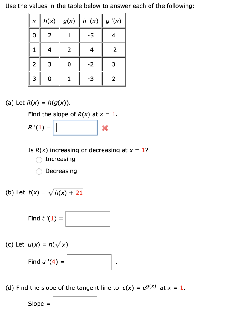 Solved Use The Values In The Table Below To Answer Each O Chegg Com