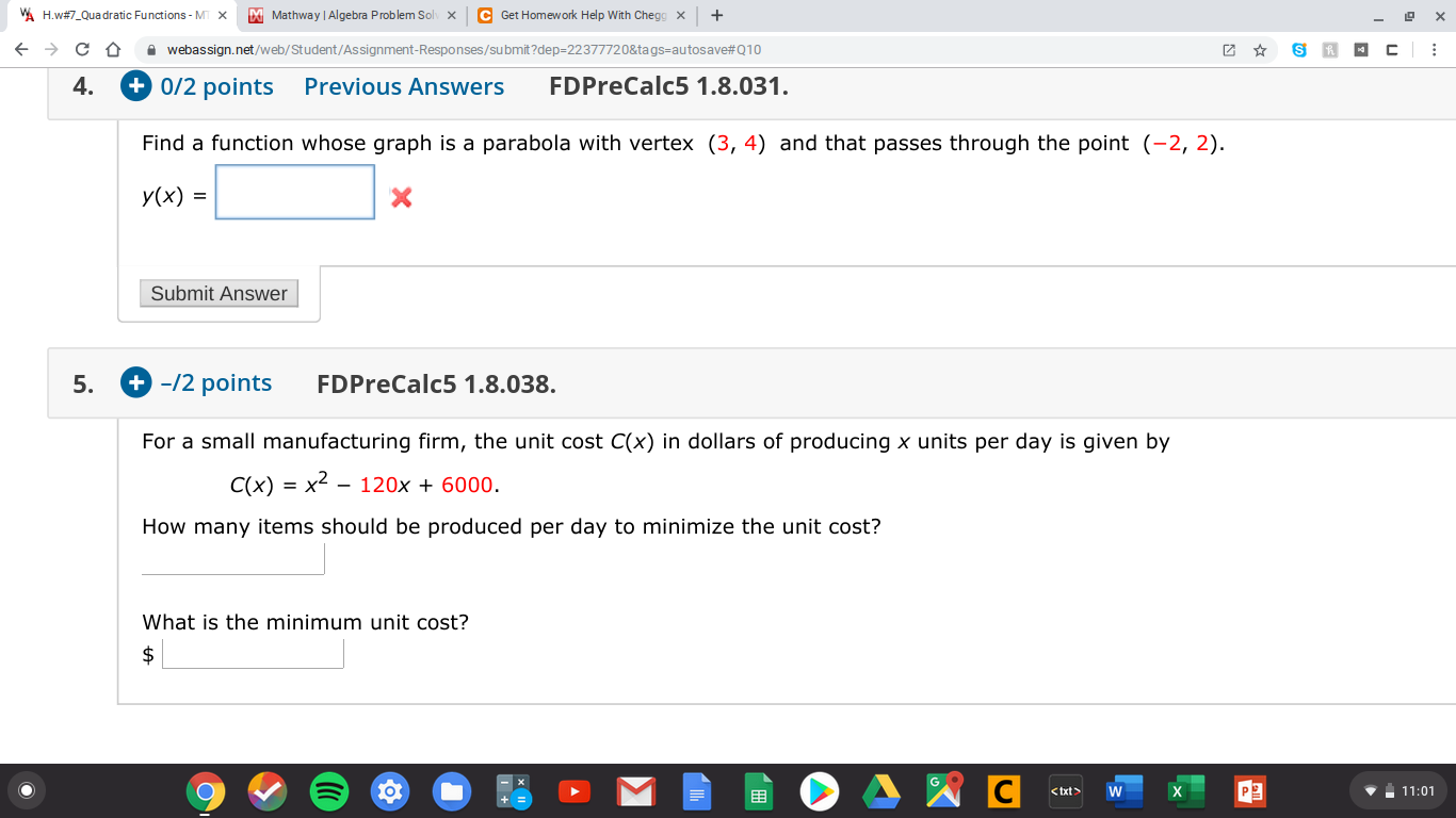 Solved: WA H.w#7_Quadratic Functions - M X M Mathway | Alg ... on