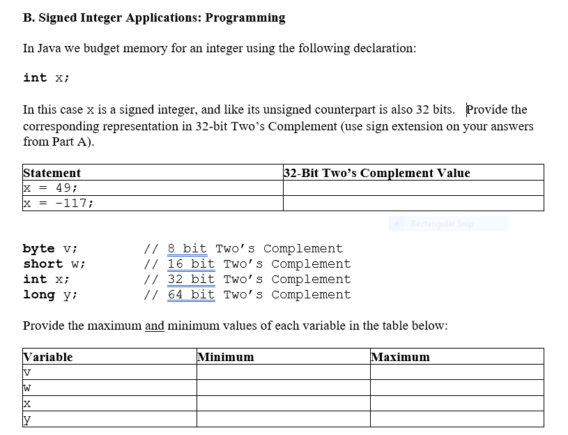 Solved: B  Signed Integer Applications: Programming In Jav