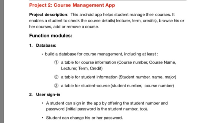 Solved: Project 2: Course Management App Project Descripti