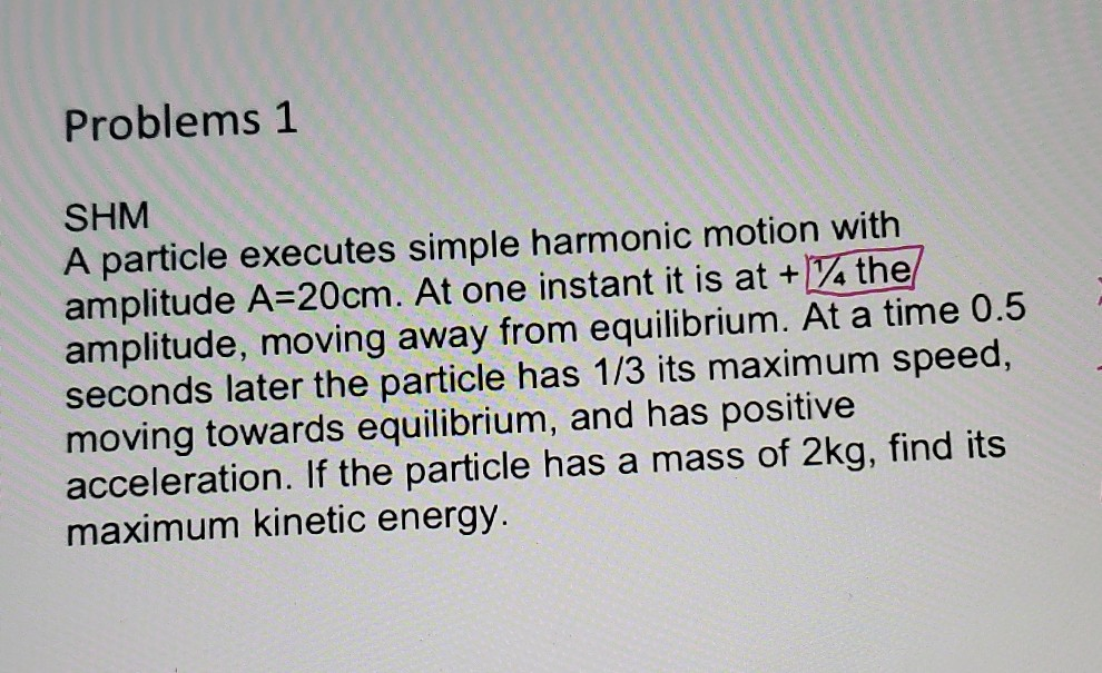 Solved: Problems 1 SHM A Particle Executes Simple Harmonic... | Chegg.com