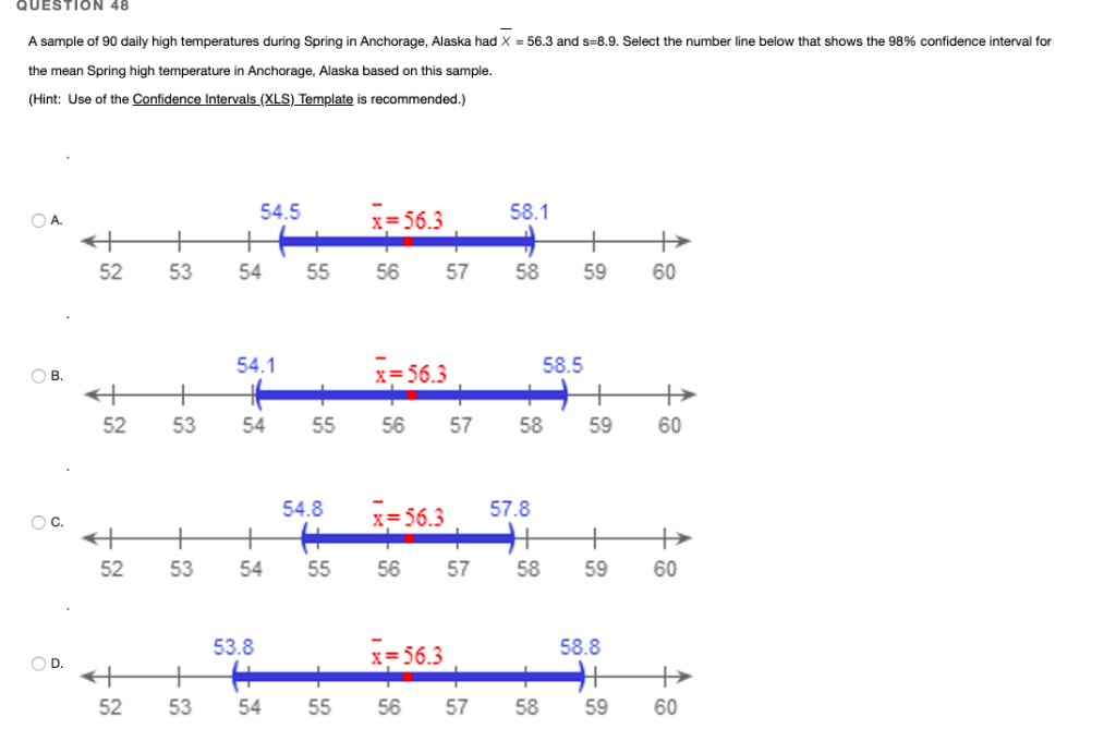 Solved: QUESTION 48 A Sample Of 90 Daily High Temperatures