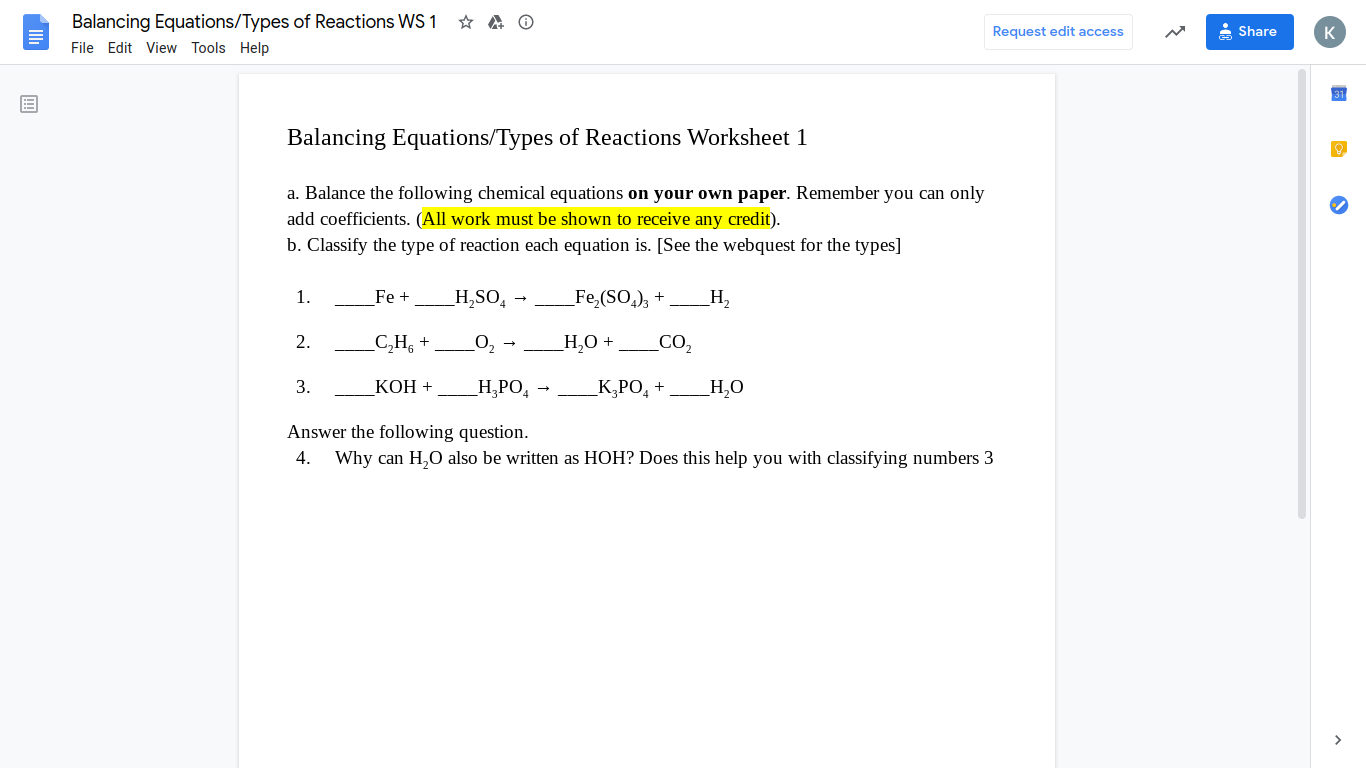 Solved A O Balancing Equations Types Of Reactions Ws1 F Chegg Com