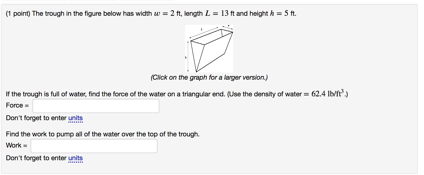 Solved: (1 Point) The Trough In The Figure Below Has Width ...