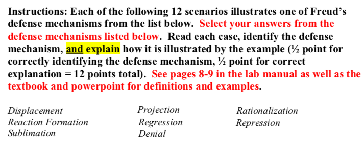 Solved Instructions Each Of The Following 12 Scenarios I