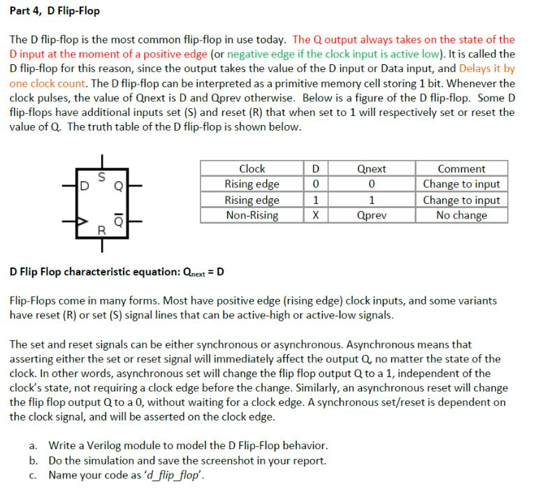Solved: Part 4, D Flip-Flop The D Flip-flop Is The Most Co