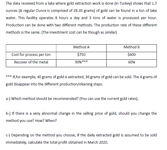 Solved The Data Received From A Lake Where Gold Extractio Chegg Com