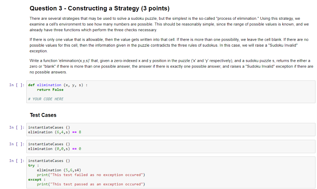 Solved: Question 3 - Constructing A Strategy (3 Points) Th