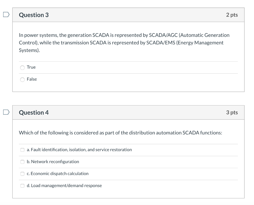 Solved: Question 1 3 Pts Some Of The Major SCADA System Co