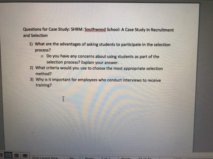 southwood school case study recruitment selection
