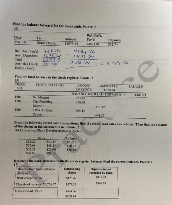 ford check stub Solved: Find The Balance Forward For The Check Stub. Find ...