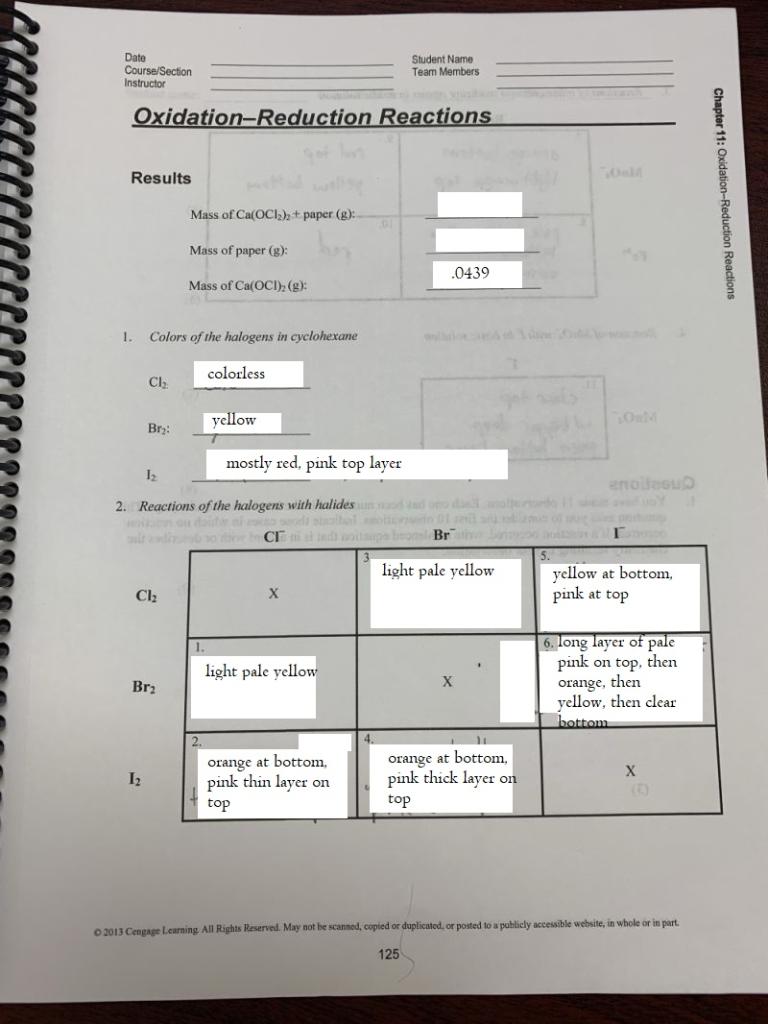 From General Chemistry 1172 Lab Manual, Custom Edi    | Chegg com