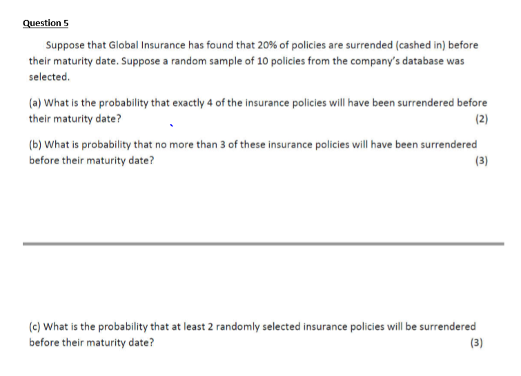 Solved: Suppose That Global Insurance Has Found That 20% O ...