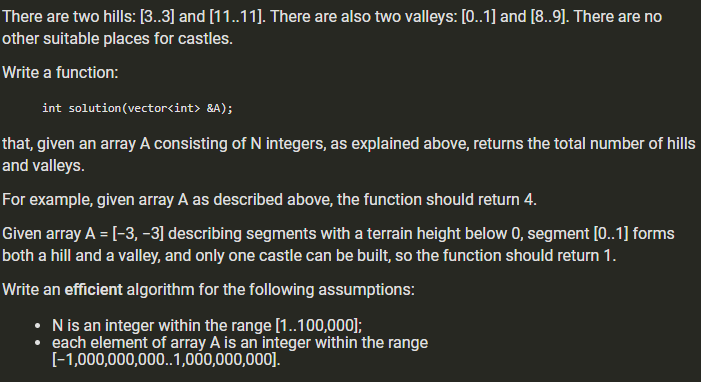 There are two hills: [3..3] and [11..11). There are also two valleys: [0..1] and [8.9). There are no other suitable places fo
