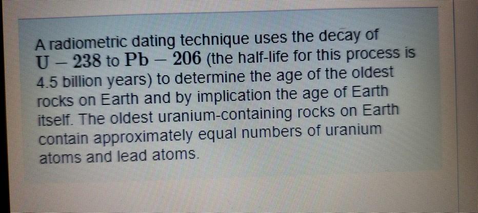 uran-238 radiometrisk dating13 år gamle dating 24 år gammel lærer