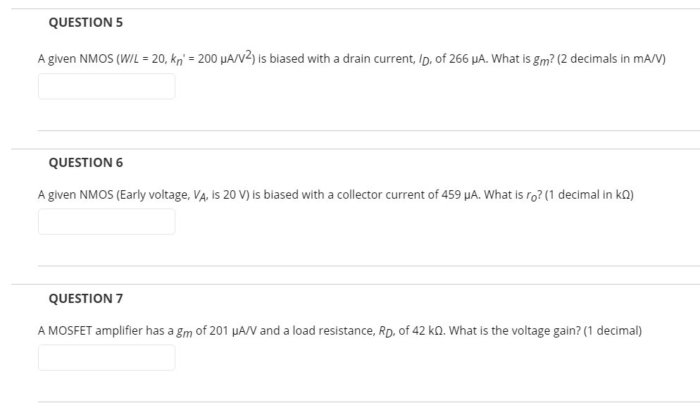 What Is Gm >> Solved Question 5 A Given Nmos W L 20 Kn 200 Ha V