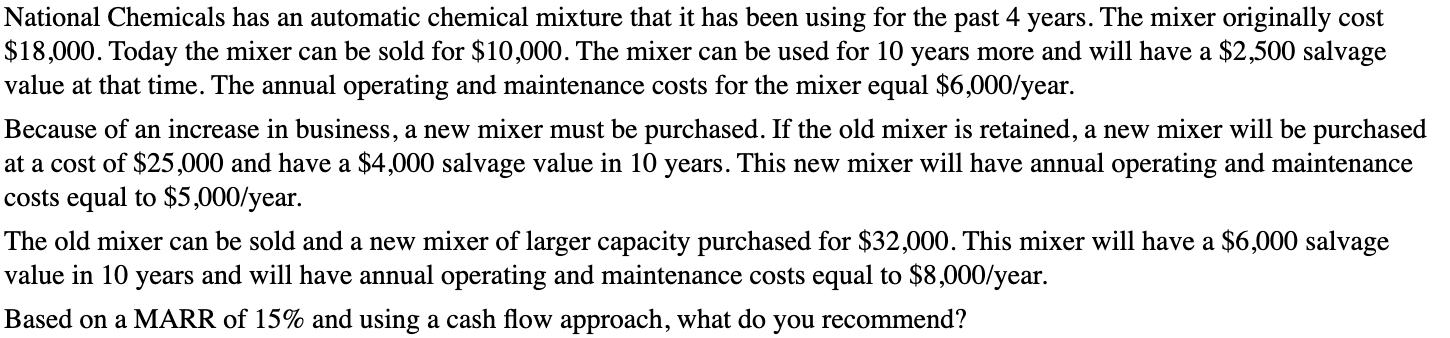 National Chemicals has an automatic chemical mixture that it has been using for the past 4 years. The mixer originally cost $