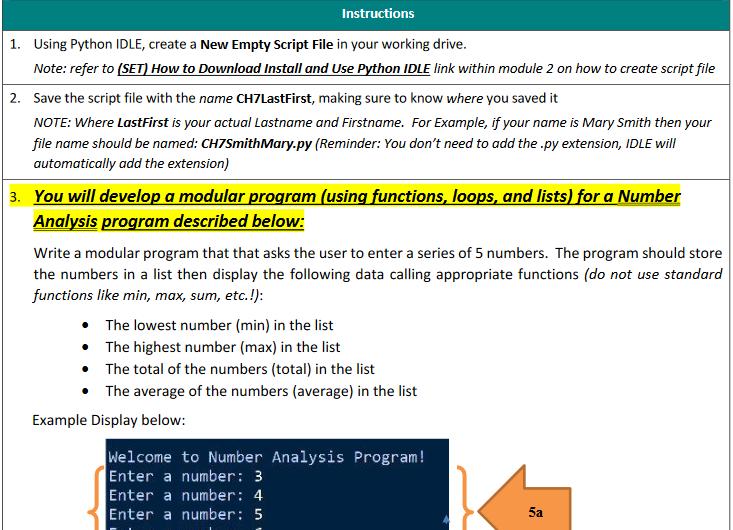 Solved Instructions 1 Using Python Idle Create A New Em Chegg Com