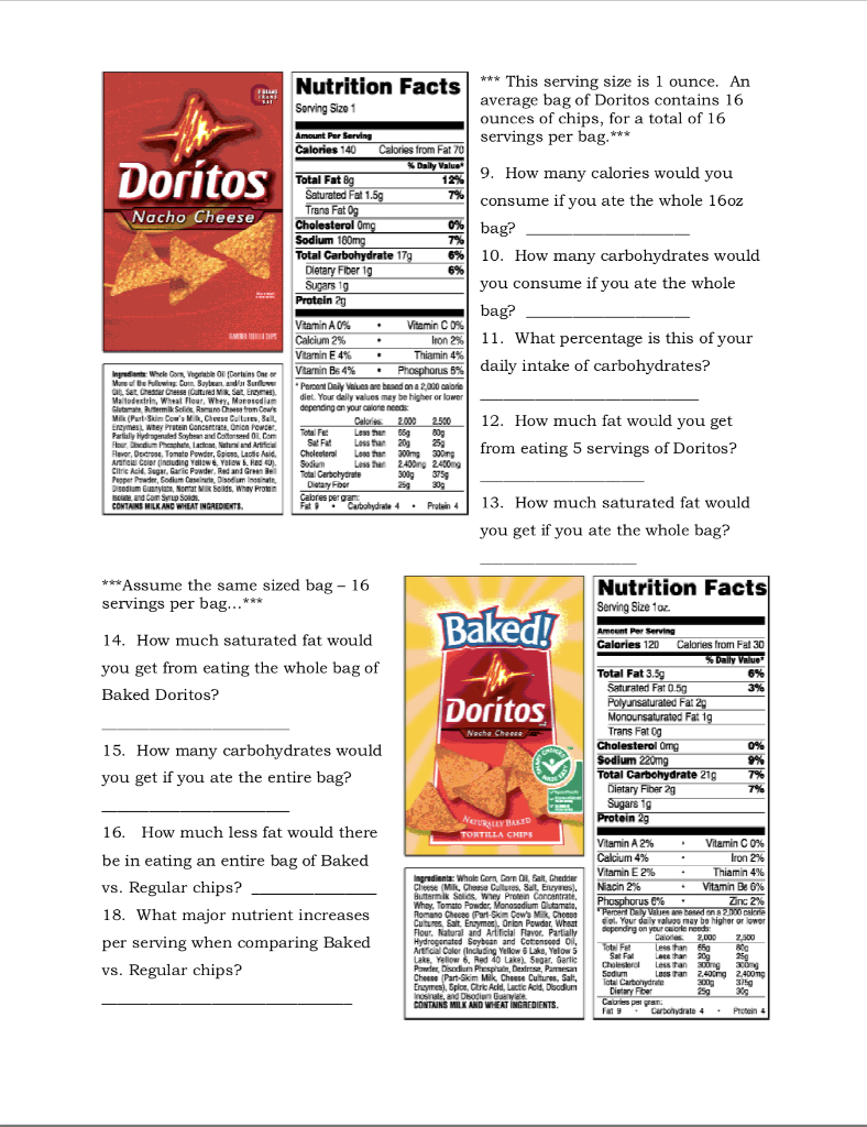 Solved Nutrition Facts Sorving Size 1 This Serving Si Chegg Com [ 1024 x 788 Pixel ]