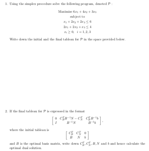 1  Using The Simplex Procedure Solve The Following