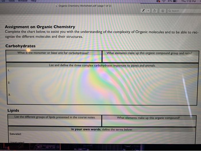 Solved: Go 10ols Window Help 81% Thu 1:18 PM Organic Chemi