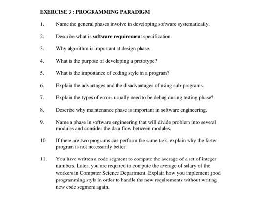 Solved Exercise 3 Programming Paradigm 1 Name The Gener Chegg Com