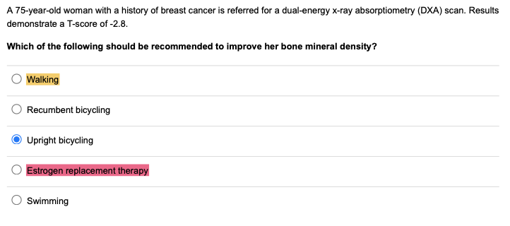 A 75-year-old woman with a history of breast cancer is referred for a dual-energy x-ray absorptiometry (DXA) scan. Results de