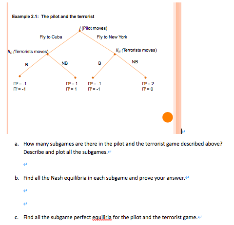 Example 2.1: The pilot and the terrorist (Pilot moves) Fly to New York Fly to Cuba Wc Terrorists moves) (Terrorists moves) B
