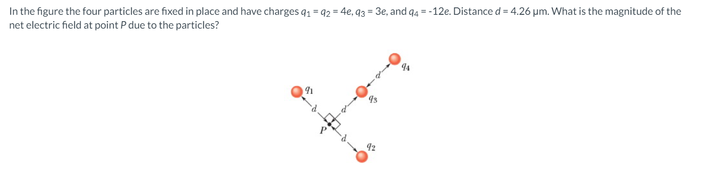 In the figure the four particles are fixed in place and have charges 91 = 92 = 4e, 93 = 3e, and 94 = -12e. Distance d = 4.26