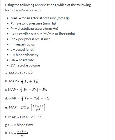 Solved Using The Following Abbreviations Which Of The Fo Chegg Com