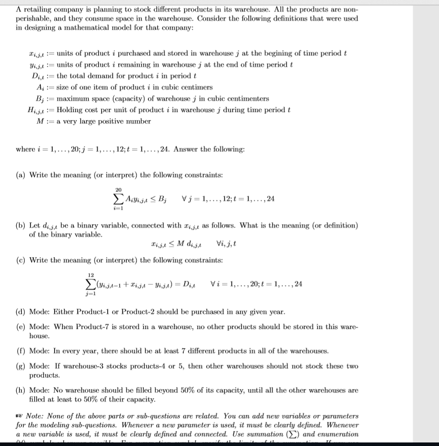 A Mathematical Model for Handling in a Warehouse