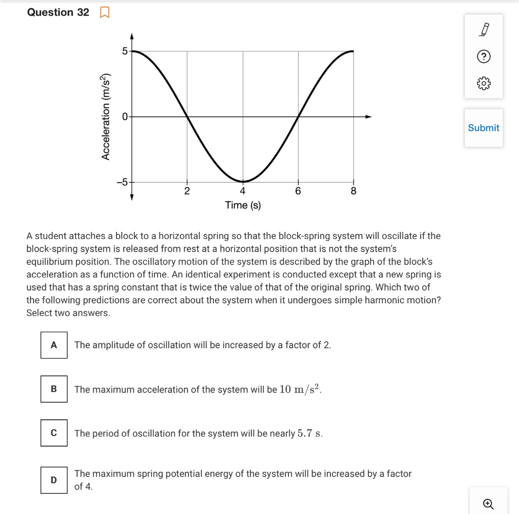 Solved: Question 320 Acceleration (m/s) Submit 6 8 4 Time ...