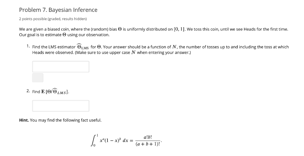 Solved: Problem 7  Bayesian Inference 2 Points Possible (g