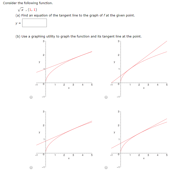 Consider the following function. * ,(1,1) (a) Find an equation of the tangent line to the graph off at the given point. (b) U