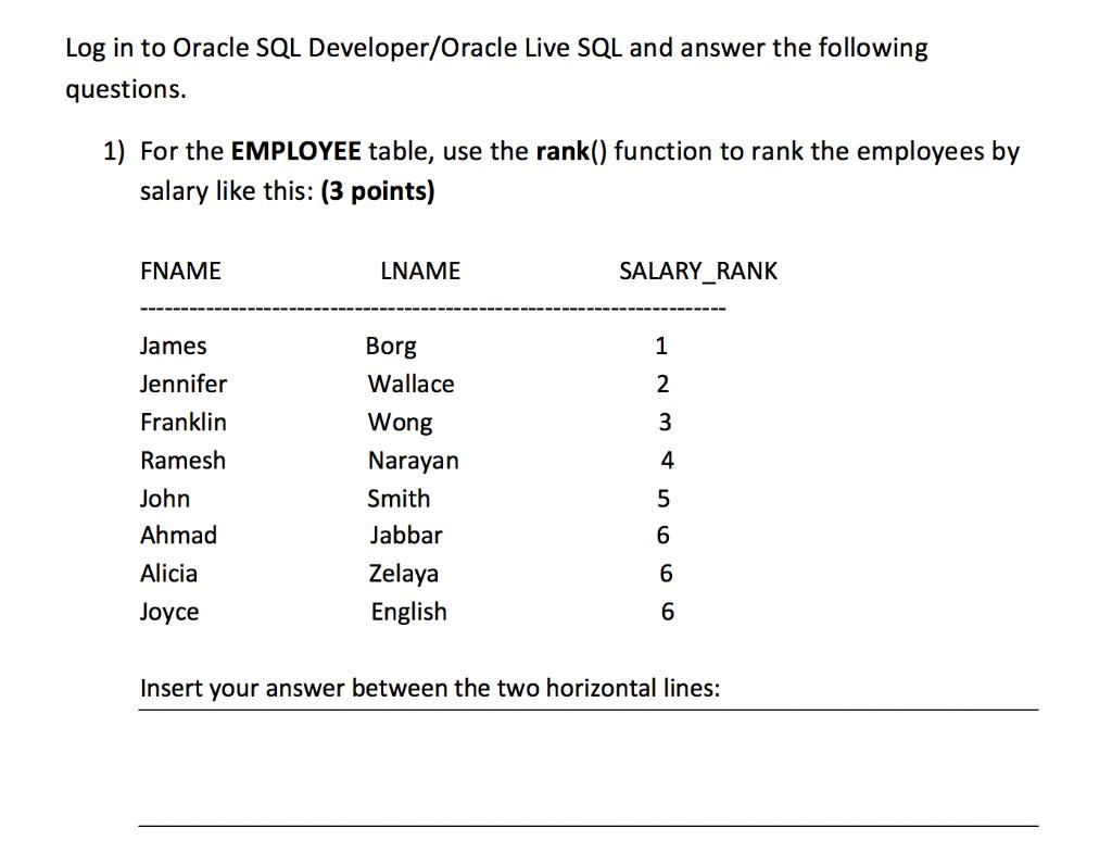 Oracle live sql