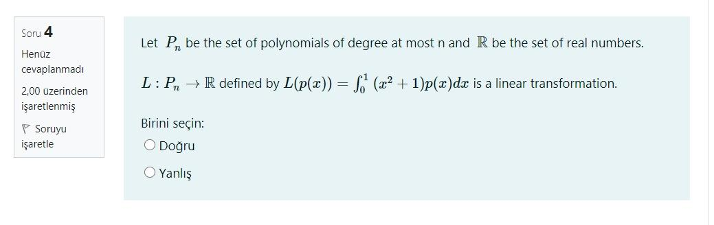 Soru 4 Let P, Be The Set Of Polynomials Of Degree ...