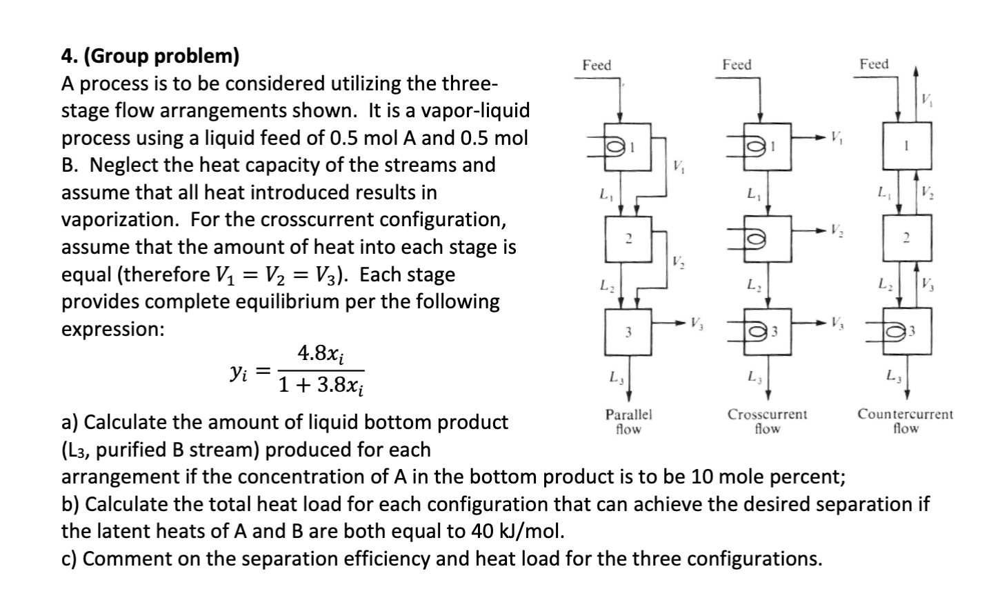 Feed Feed Feed 4. (Group problem) A process is to be considered utilizing the three- stage flow arrangements shown. It is a v