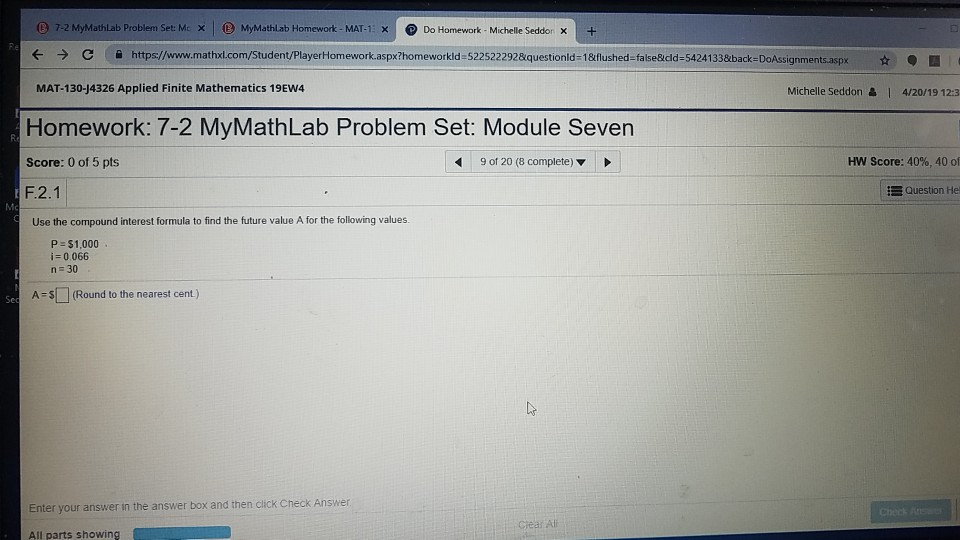mymathlab section 2.1 homework answers