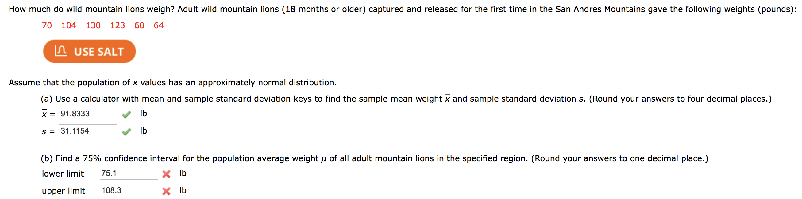 Solved How Much Do Wild Mountain Lions Weigh Adult Wild Chegg Com