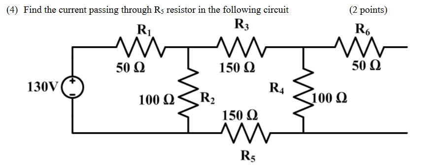 (2 points) (4) Find the current passing through Rs resistor in the following circuit R R3 Ro 50 Ω S 150 Ω 50 Ω 130V R400 Ω 10