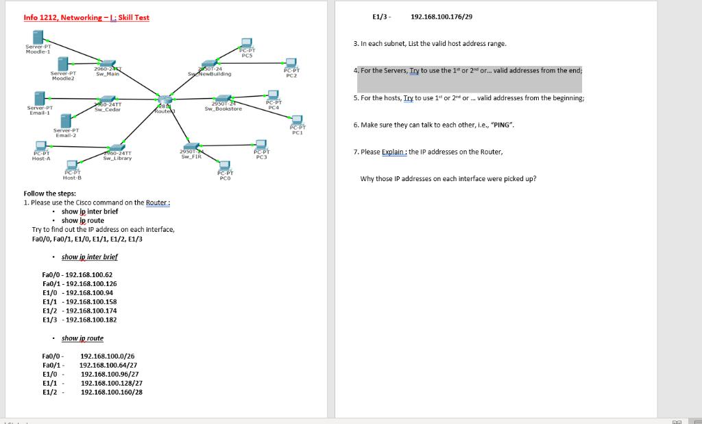 Info 1212, Networking - L: Skill Test E1/3 - 192 1      Chegg com