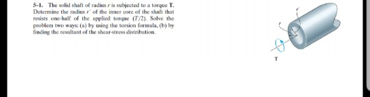 Solved: 5-1, The Solid Shaft Of Radius R Is Subjected To A
