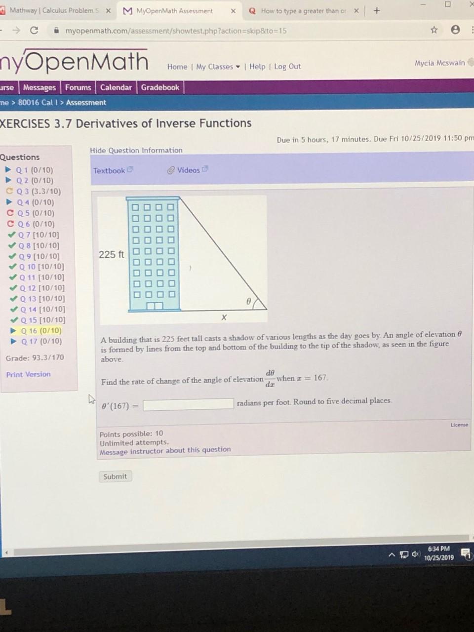 Solved: Mathway Calculus Problems X M MyOpen Math essme ... on