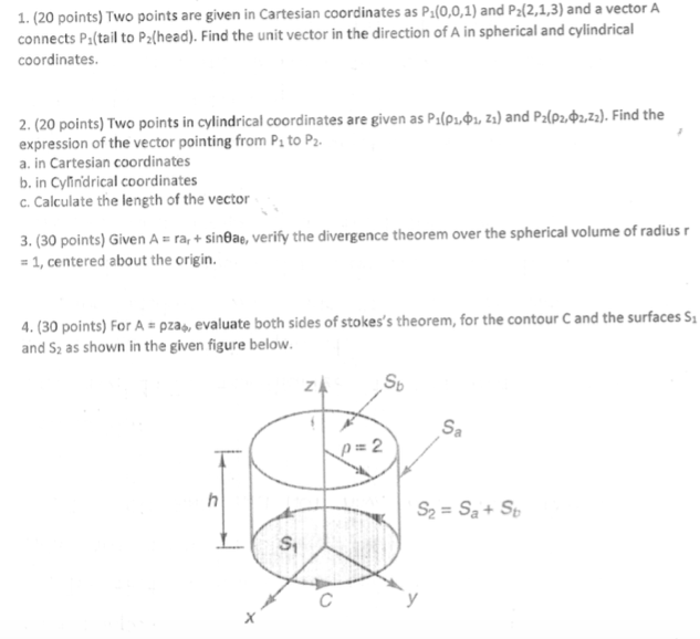 Solved: 1  (20 Points) Two Points Are Given In Cartesian C