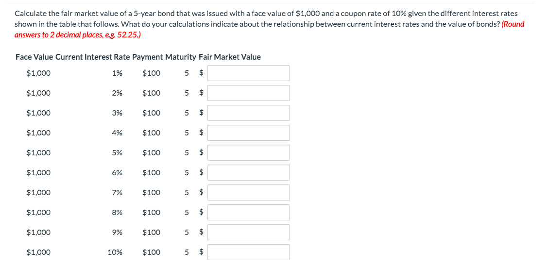 Fair Market Value Calculator >> Solved Calculate The Fair Market Value Of A 5 Year Bond T