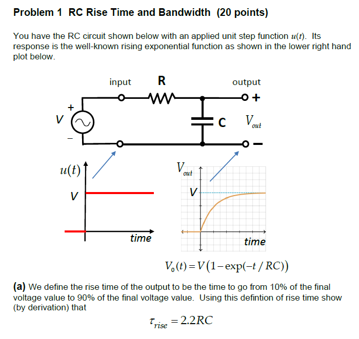 solved problem 1 rc rise time and bandwidth 20 points y chegg com 1 rc rise time and bandwidth 20 points