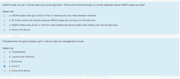 ASEAN trade volume in natural resource is quite significant. Which one of the followings is a correct statement about ASEAN r