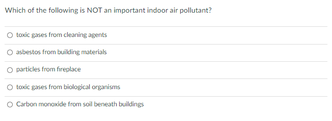 Which of the following is NOT an important indoor air pollutant? toxic gases from cleaning agents asbestos from building mate